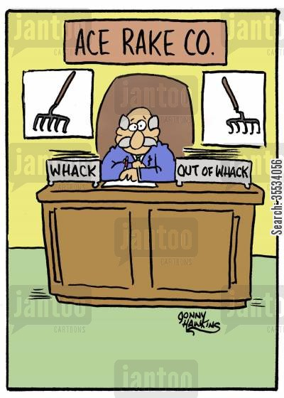 out tray cartoon humor: Rake business has two boxes: 'Whack' and 'Out of Whack'