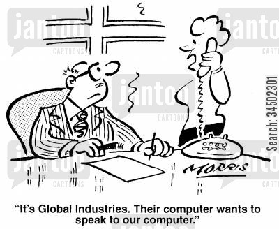 technological advance cartoon humor: ...Their computer wants to speak to our computer.