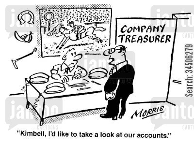 company account cartoon humor: 'Kimbell, I'd like to take a look at our accounts.'
