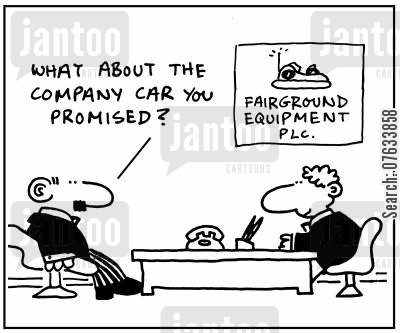 bumper cars cartoon humor: What about the company car you promised?
