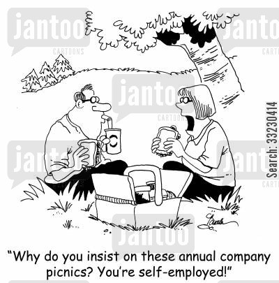 company picnics cartoon humor: 'Why do you insist on these annual company picnics? You're self-employed.'