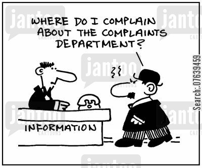 help desks cartoon humor: 'Where do I complain about the complaints department?'