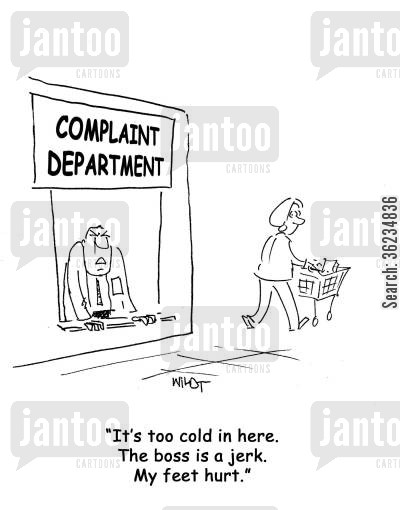 sore feet cartoon humor: It's too cold...the boss is a jerk...my feet hurt.