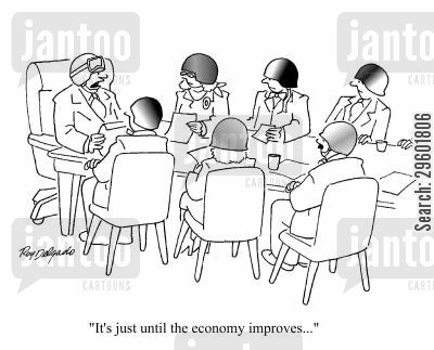 financial crisis cartoon humor: 'It's just until the economy improves.'