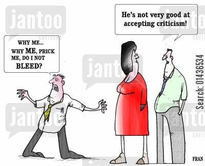 supervision cartoon humor: 'He's not very good at accepting criticism.'