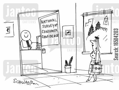 materialist cartoon humor: The national surveyor of consumer confidence is a smiley.