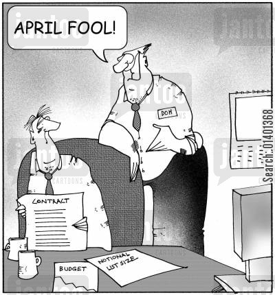funny boss cartoon humor: 'April fool!'