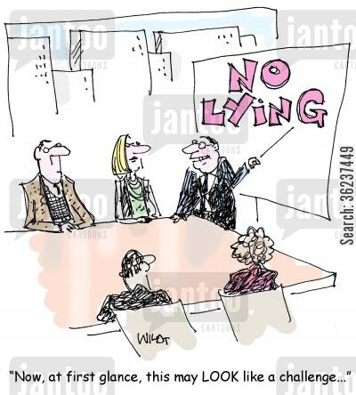 corporate ethics cartoon humor: 'Now, at first glance, this may LOOK like a challenge.'