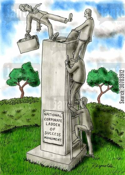 climbed cartoon humor: National corporate ladder of success monument.