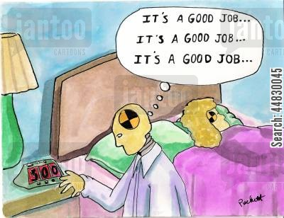 good job cartoon humor: a crash-test dummy is performing some affirmations before going to work