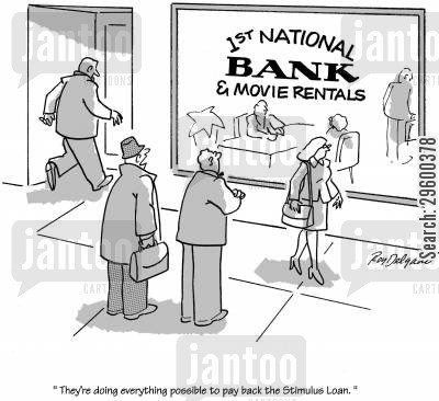 global economy cartoon humor: 'They're doing everything possible to pay back the stimulus loan.'