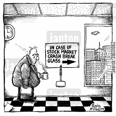 stock market crash cartoon humor: In case of stock market crash break glass.
