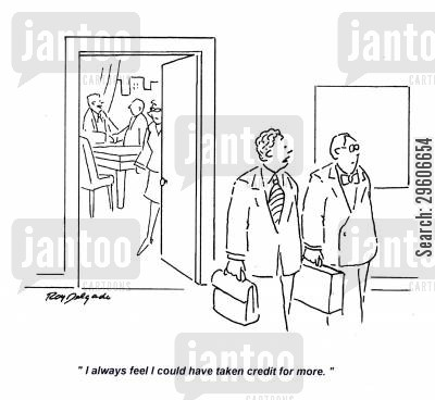 crediting cartoon humor: 'I always feel I could have taken credit for more.'
