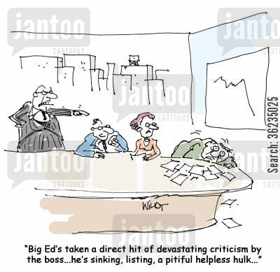 criticize cartoon humor: Big Ed's taken a direct hit of devastating criticism by the boss, he's sinking,listing, a pitiful helpless hulk...