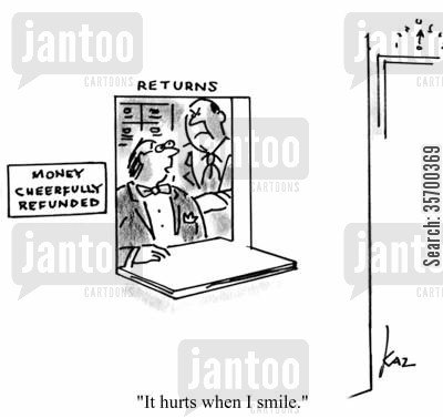 cheerful cartoon humor: 'It hurts when I smile.'
