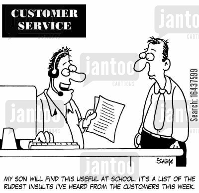swear word cartoon humor: 'My son will find this useful at school. It's a list of the rudest insults I've heard from the customers this week.'