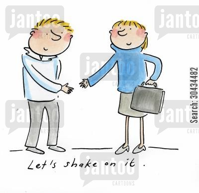 handshakes cartoon humor: Let's shake on it.