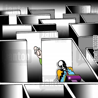 office workers cartoon humor: Skeleton in Cubical.