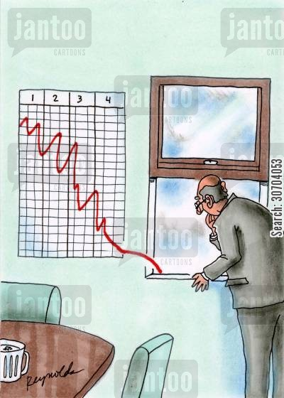 out the window cartoon humor: Annual profits,