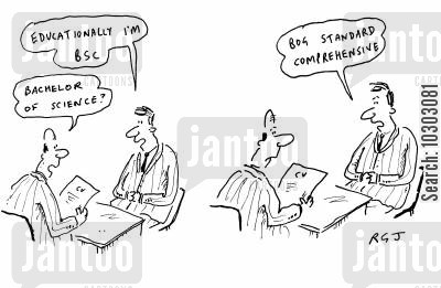bachelor of science cartoon humor: 'Bachelor of Science?' 'Bog Standard Comprehensive.'