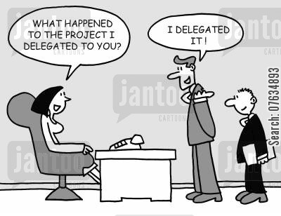 employ cartoon humor: What happened to the project I delegated to you?
