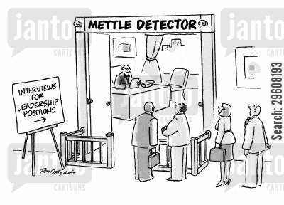 metal detectors cartoon humor: Interviews for leadership positions.