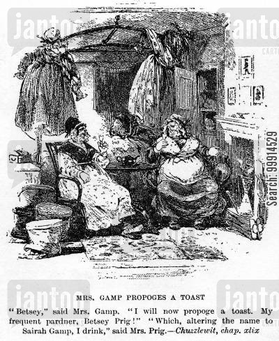 martin chuzzlewit cartoon humor: Mrs. Gamp proposes a toast
