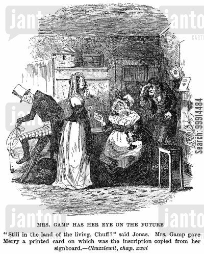funeral cartoon humor: Mrs. Gamp has her eye on the future
