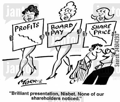 presenting cartoon humor: Brilliant presentation, Nisbert. None of our shareholders noticed.
