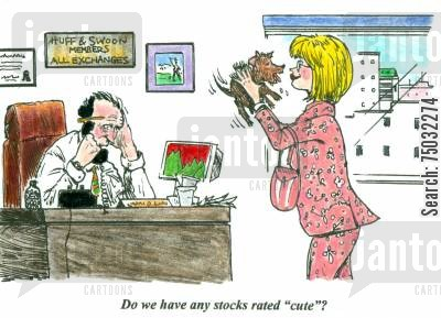 cuteness cartoon humor: 'Do we have any stocks rated 'cute'?'