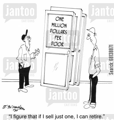 early cartoon humor: 'I figure that if I sell just one, I can retire.'
