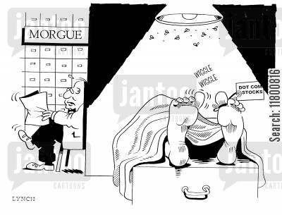 coms cartoon humor: Morgue for Dot Com Stocks