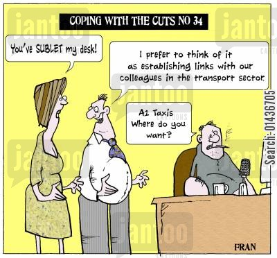 sub-lets cartoon humor: Coping with the cuts