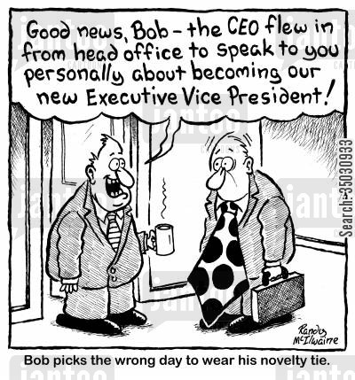 novelty cartoon humor: Ted picks the wrong day to wear his novelty tie.
