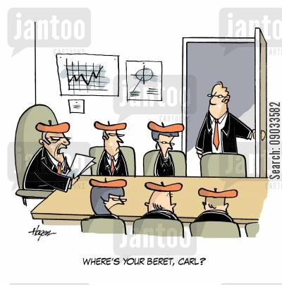 business meetings cartoon humor: 'Where's your beret, Carl?'