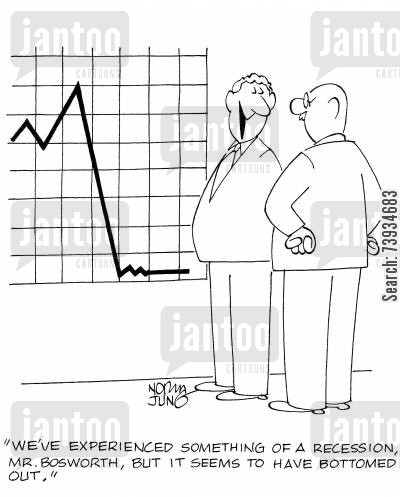flat line cartoon humor: 'We've experienced something of a recession, Mr. Bosworth, but it seems to have bottomed out.'