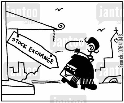 economic indicators cartoon humor: 'Stock Exchange.'
