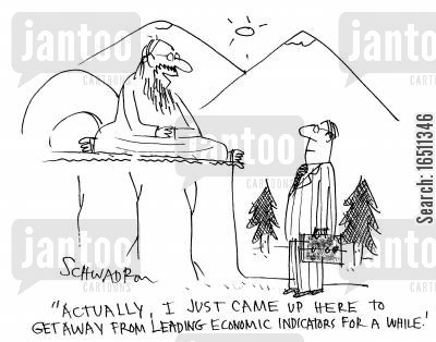 mountain man cartoon humor: 'Actually, I just came up here to get away from leading economic indicators for a while.'