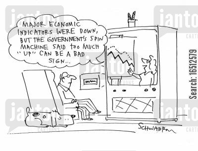 economic indicators cartoon humor: 'Major economic indicators were down, but the government's spin machine said too much 'up' can be a bad sign...'