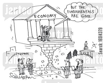 fragile economy cartoon humor: 'But the fundamentals are good!'
