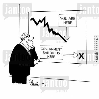 cut costs cartoon humor: Government Bailout Is Here.