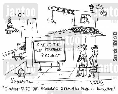 government policy cartoon humor: 'I'm not sure the economic stimulus plan is working.'