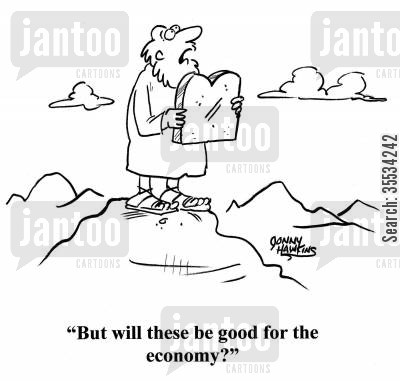 patriarchs cartoon humor: Moses with Ten Commandments: 'But will these be good for the economy?'