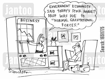 falling stocks cartoon humor: 'Government economists said today's stock market was due to 'normal gravitational forces'.'