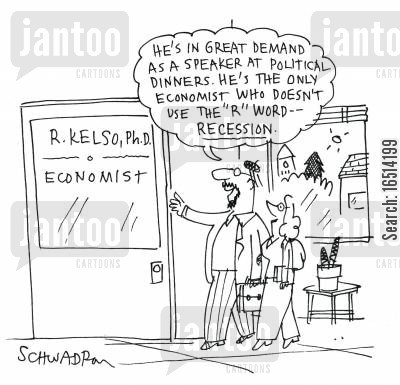 in demand cartoon humor: 'He's in great demand as a speaker at political dinners. He's the only economist who doesn't use the 'R' word.'
