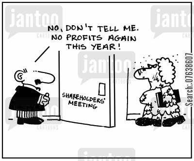 shareholders meeting cartoon humor: 'No, don't tell me. No profits again this year.'