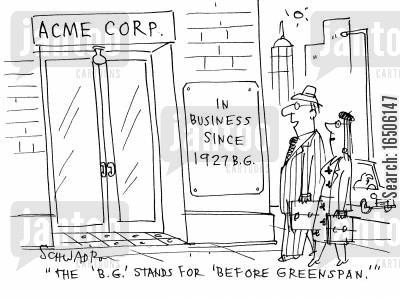 economic advisors cartoon humor: 'The 'B.G.' stands for 'before Greenspan'.'
