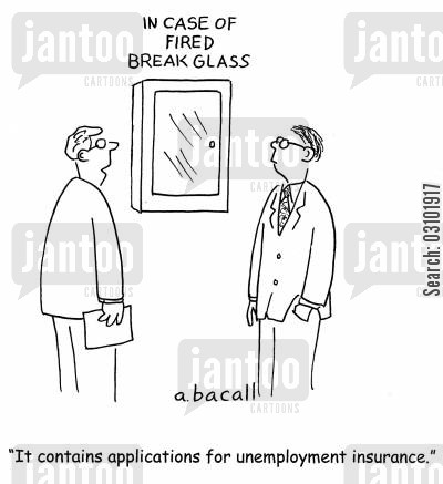 in case of emergency cartoon humor: 'It contains applications for unemployment insurance.'