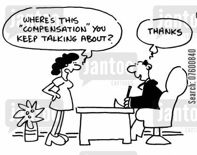adequate compensation cartoon humor: Employee receiving compensation