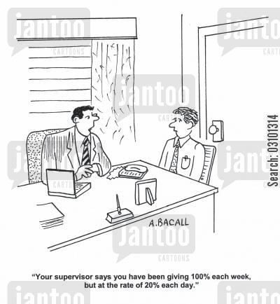 job reviews cartoon humor: 'Your supervisor says you have been giving 100 each week, but at the rate of 20 each day.'